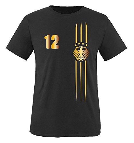 Trikot - MOTIV1 - Deutschland - 12 - Kinder T-Shirt - Schwarz/Gold Gr. 110-116