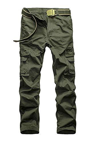 Hombre Pantalones Al Woodland Long Libre Aire Chic Mens Friends Pantalones Militares De Carga s s Ocio Color Sólido Trekking Pantalones Otoño (Color : Green, Size : 32-Waist:82cm)