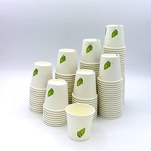 100 Vasos Desechables de Café para Llevar - Vasos Carton 240 ml para Servir el Café, el Té, Bebidas Calientes y Frías - Ideal Para Todo Tipo De Celebraciones