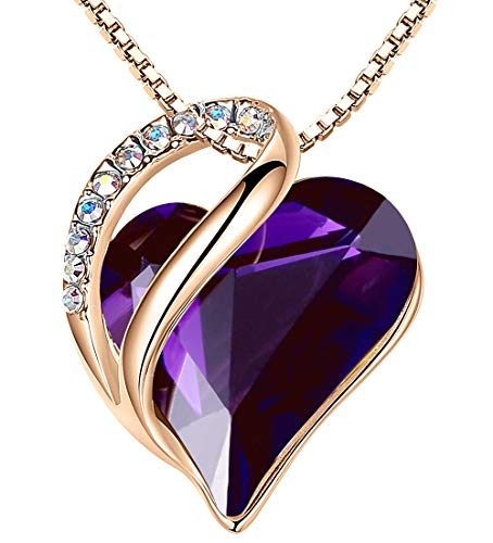 Leafael 18K Rose Gold Plated Love Heart Pendant Necklace with Dark Amethyst Pink Healing Stone Crystal for Creativity, Jewelry Gifts for Women, 18'+2'