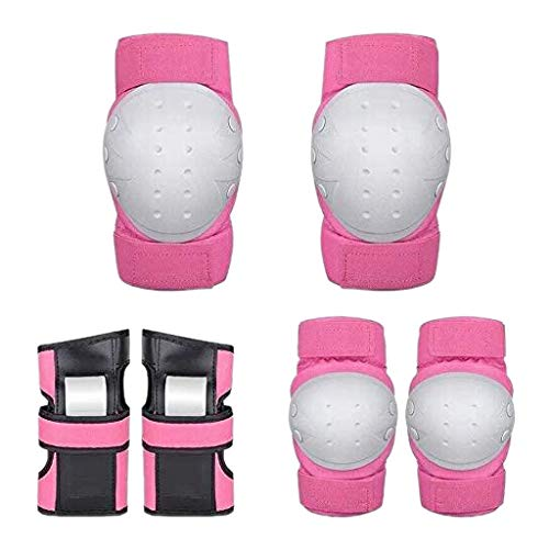 Fewear Kids & Adults Knee and Elbow Pads with Wrist Guards Protective Gear Set, Kneesavers Elbowsavers and Wristsavers for Skating Cycling Bike Rollerblading Scooter, L/M/S (Pink, M)