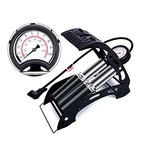 SFLRW Bomba de bicicleta de doble cilindro con medidor de presión, bomba de piso de bicicleta portátil con 14 0 PSI Calibrador de precisión y válvulas inteligentes, bomba de aire para bicicletas, moto