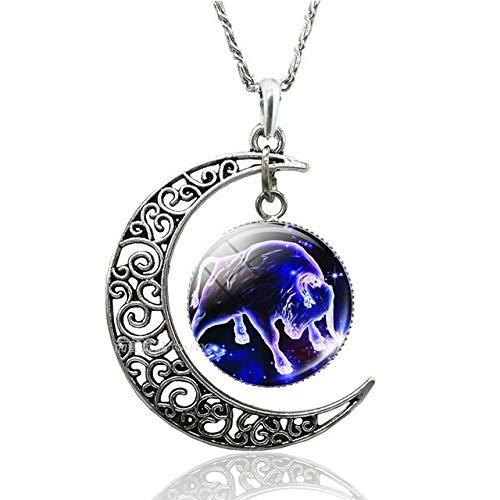 Accesorios 12 joyería Collar Colgante constelación Luna Creciente Sagitario Cancer Aries Tauro Géminis Leo del Zodiaco del escorpión Regalo (Metal Color : Taurus)