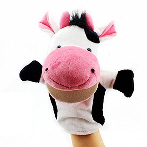 Isuper Marionetas de Mano,Peluche de Mano,Juquete Felpa de Mano de Dedo Diseño de Animal Lindo Peluche para bebé(Vaca)