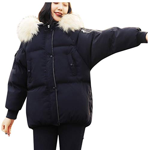 Janly Clearance Sale Abrigo de invierno para mujer, de algodón, cálido, con capucha, para invierno, de manga larga, negro, S