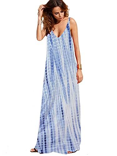 Verdusa Women's Casual Sleeveless Deep V Neck Summer Beach Maxi Long Dress Tie Dye Blue XXL