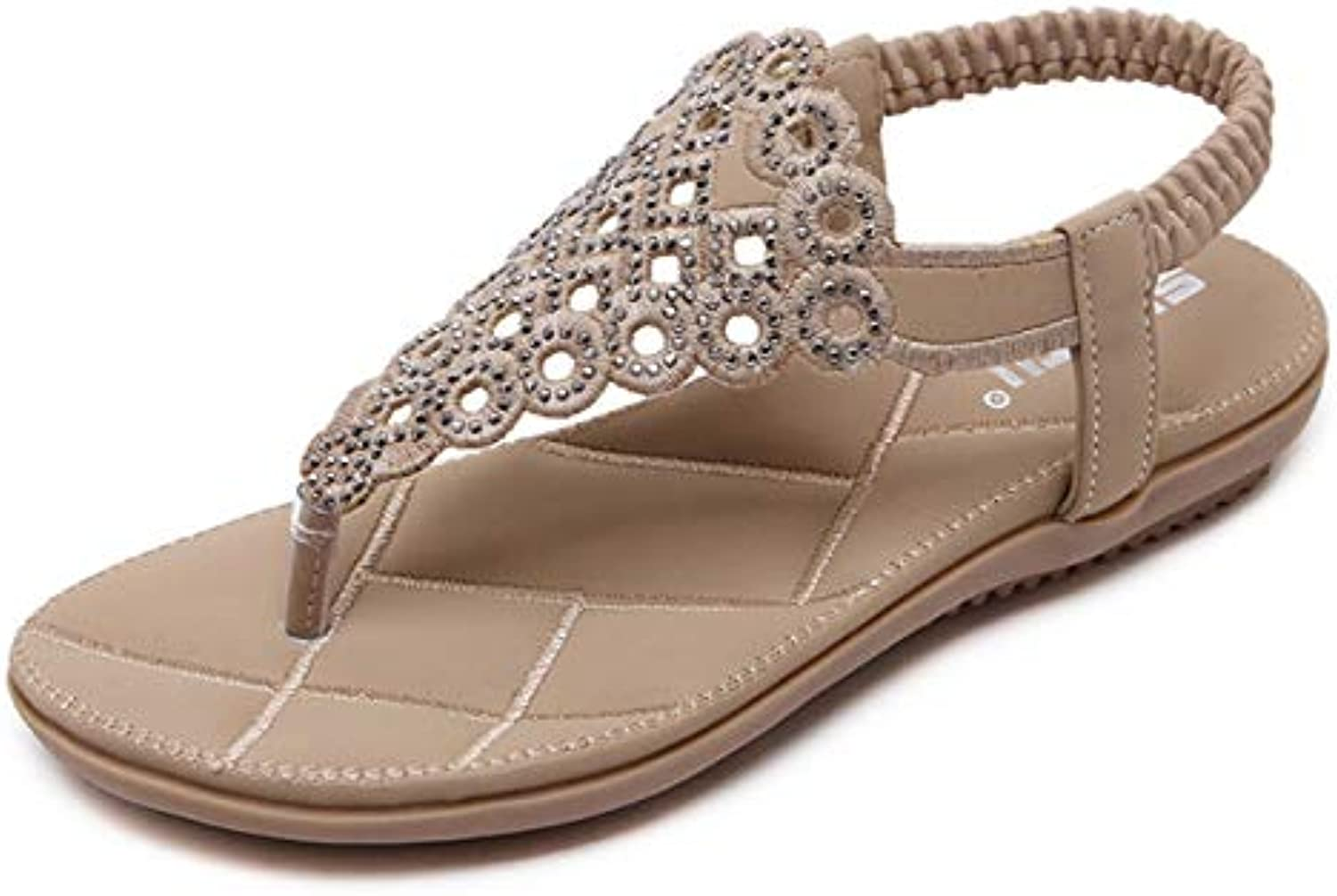 Women's Flat Low Sandals, Summer Beach shoes Large Size Casual Flip-Flops, Bohemian Rhinestone Decoration, Suitable for Daily Wear, Home, Vacation