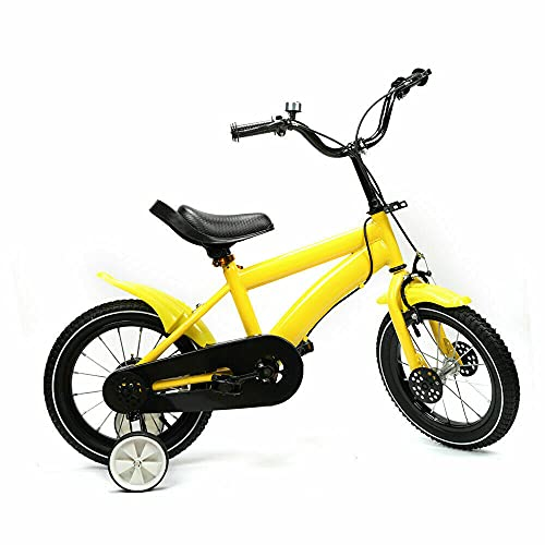 Bicicletta per bambini, 14 pollici, con ruote di supporto resistenti all'usura, colore bianco/rosso/blu/giallo (giallo)