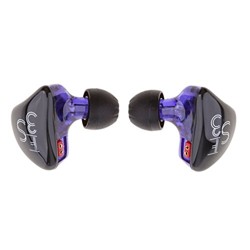 H HILABEE KZ ES3 Balanced Armature + Dynamic Hybrid Dual Driver Earphones Auriculares Intrauditivos - Púrpura