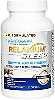 RELAXIUM SLEEP AID-Sleeping Pills-Sleep Supplement-Natural Insomnia-Anxiety-Stress Relief-Mood-Memory-Energy Support-Melatonin-Gaba-Passionflower-Sensoril-Magnesium-Valerian-Hops-60 capsules