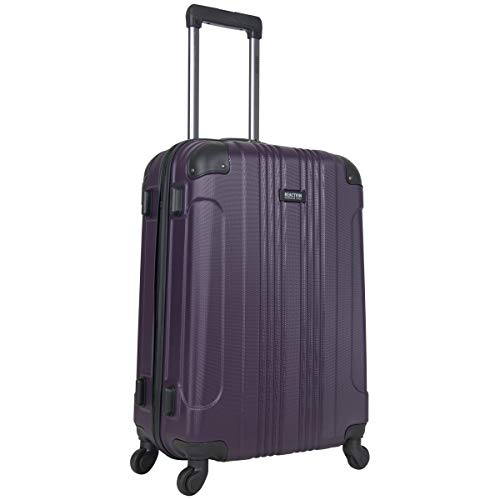 Kenneth Cole Reaction Out Of Bounds 24-inch Check-Size Lightweight Durable Hardshell 4-Wheel Spinner Upright Luggage, Deep Purple