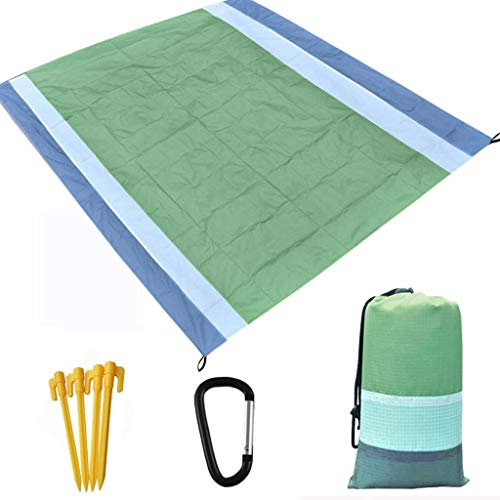 Windproof Beach Blanket - 210X200CM Portable Picnic Blankets for Outdoor Travel - Waterproof Oversized Quick Drying Beach Mat for 4-7 Persons - As Camp Blanket, Game Mat, Hiking Mat