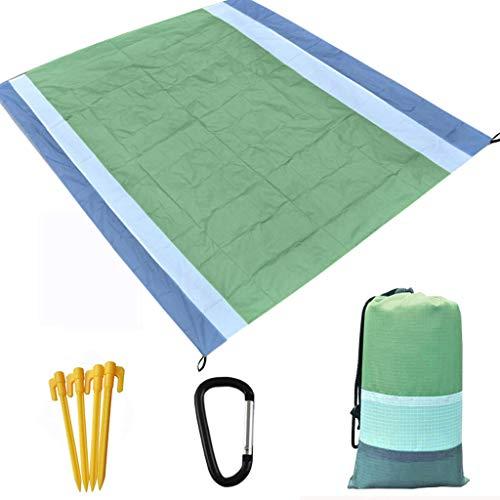 Picknickdecke Stranddecke Wasserdicht Insulation 210X200CM, Matte mit 4 Pfosten und Tasche, Campingdecke Sandabweisend Strandmatte Outdoor Campingdecke für Reisen Wandern Camping (Armeegrün)