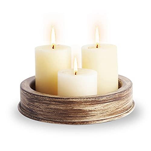 FUTAIKANG Bandeja de candelabro de Metal Negro Mate, Accesorios de decoración del hogar para la Mesa de Centro y la Mesa de Comedor(rústico