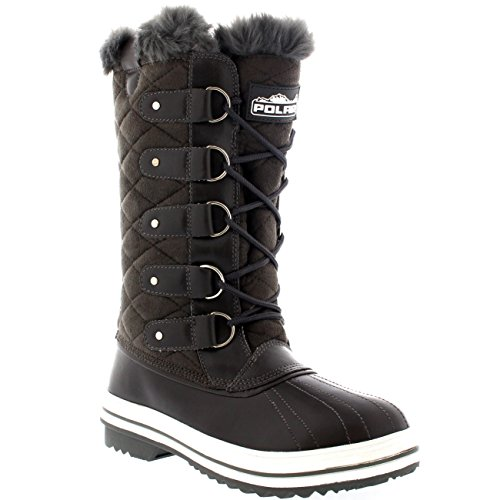 Mujer Acolchado Lluvia Cordones Forrada De Piel Zapato Pato Nieve Botas - GRS39 - AYC0007