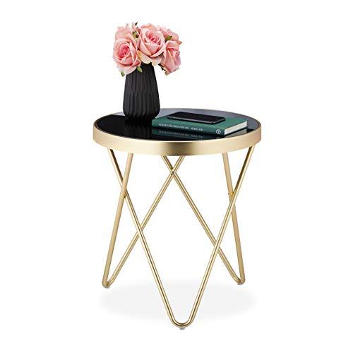 Relaxdays Ronde bijzettafel, trendy salontafel, metaal en glas, hoogglans, retro-design, HxD: 46 x 42 cm, zwart-goud, 1 stuk