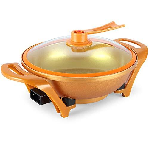 ZNSBH 1500W multifunctionele elektrische wok elektrische huishoudproducten pan elektrische roerpan temperatuurregeling Hot Pot, met gehard glazen deksel anti-aanbaklaag, oranje