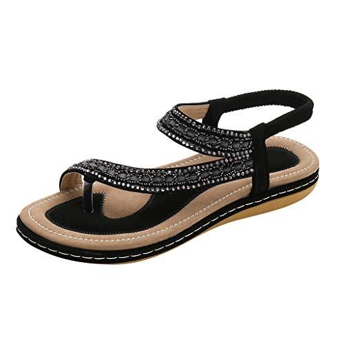 TIFIY Sandalen Sommer Damen Schuhe Clip-Toe Strass Sandalen Mode Gummiband Flache Sandale Beiläufig Mode Hochschule Basic Arbeit Sommer Schuhe(Schwarz,43 EU)