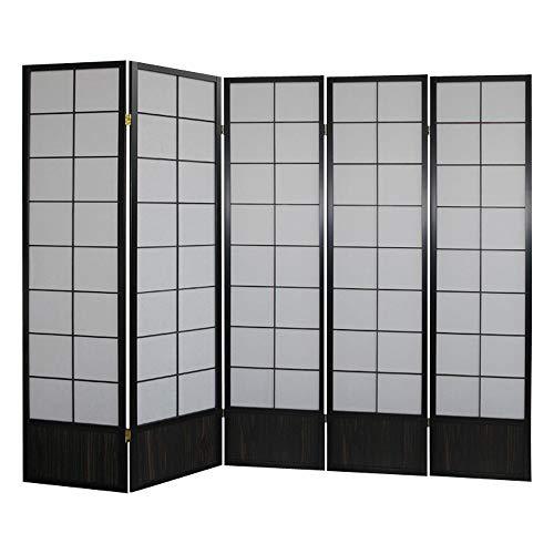 Paravents by Cilios Paravent Hoshi Style 5 XL Black - blickdichte Stellwand mit Shoji Art bespannt, Sondergröße 190 cm hoch