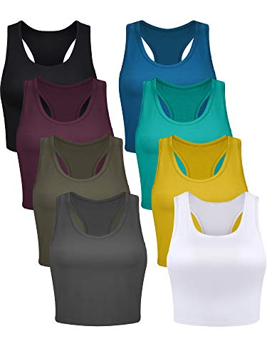 Geyoga 8 Pieces Basic Crop Tank Tops Sleeveless Racerback Crop Sport Top for Women (Chic Color,Small)