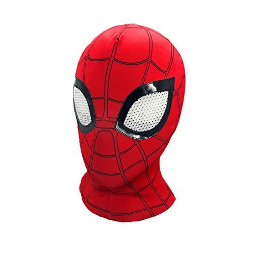 Mask Spiderman,Halloween Mask Superhero Advanced Spiderman Hero Mask, Superhero costume role-playing Props Elastic Lycra fabric (red)