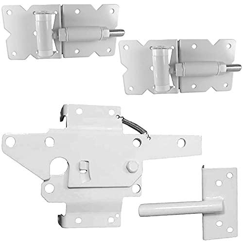 Vinyl Fence Gate Single Gate Hardware Kit White(for Vinyl, PVC etc Fencing) Fence Gate Kit Includes Gate Hinges w/Mounting Hardware & Gate Latch -Single Fence Gate Kit has 2 Hinges & 1 Latch