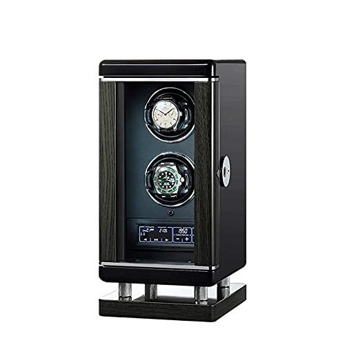 Enrollador de reloj automático, interruptor de huellas dactilares inteligente doble Motor extremadamente silencioso Pantalla táctil LCD con control remoto Iluminación incorporada 6 Rotación M