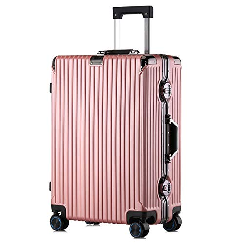 XIANGSHAN PC Convenient Trolley Case, Stylish and Durable Super Storage Luggage Bag,Wheels Travel Rolling Boarding,20' 22' 24' 26' Inch (Color : Black, Size : 22inch)