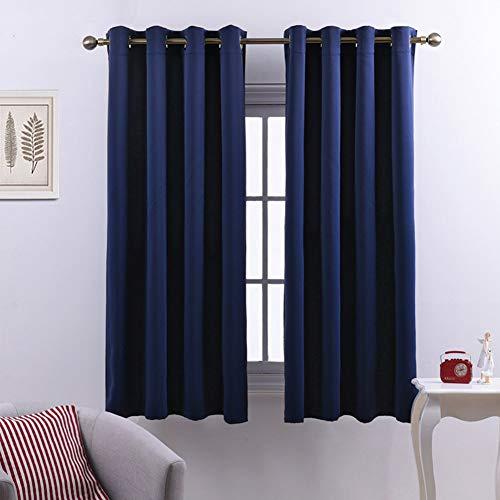 MaoDaAiMaoYi gordijnen met kijkvenster, klein, effen, ondoorzichtig, voor een unieke slaapkamer, ramen, ramen, voor vliegtuig, marineblauw 270 x 200 cm (106X79Inch)