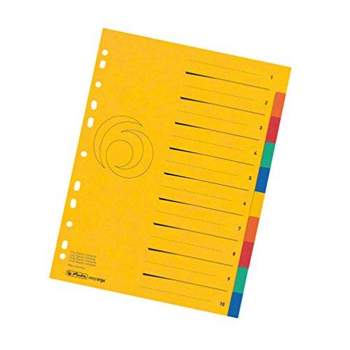 Herlitz 11159399 Karton-Register 1-10, A4, Überbreite, 5 Farben gelocht mit Orgadruck