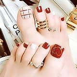 Fairvir - Uñas postizas para dedos de los pies (acrílicas, 24 unidades), color rojo, para mujer y niñas