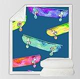Acogedora Mantas para Sofa Patineta de Color Azul 3D Mantas para Mantas Ligeras de Microfibra Manta de Aire Acondicionado Cuatro Estaciones- Fácil de Limpiar 130X150Cm