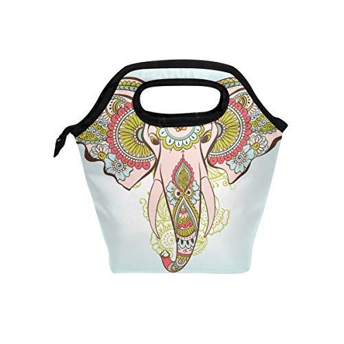 Lupinz Lunchtasche Elefant auf dem Henna, indisches Muster, leicht, isoliert, für Jungen und Mädchen