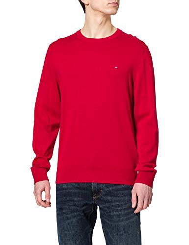Tommy Hilfiger Herren Organic Cotton Blend Crew Neck Pullover, Primärrot, Large