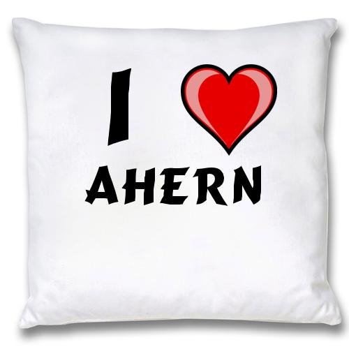 White Cushion Cover with I Love Ahern (first name/surname/nickname)