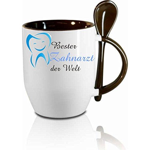 Creativ Deluxe Tasse m. Löffel Bester Zahnarzt der Welt Löffeltasse, Kaffeetasse mit Motiv,Bürotasse, Bedruckte Tasse mit Sprüchen oder Bildern - auch individuelle Gestaltung nach Kundenwunsch