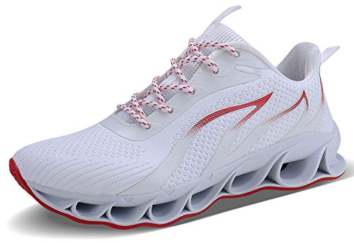 JSLEAP Laufende Schuhe der Männer, die athletische Mode-Tennisblatt-Turnschuhe Laufen Lassen (3a Weiß,Größe 42 EU/260 CN)