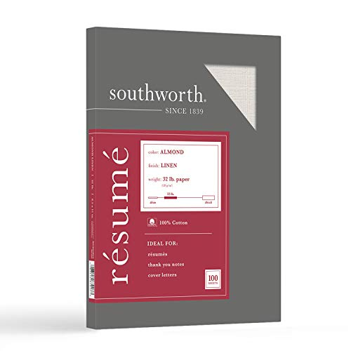 """Southworth 100% Cotton Resume Paper, 8.5"""" x 11"""", 32 lb/120 gsm, Linen Finish, Almond, 100 Sheets - Packaging May Vary (RD18ACFLN)"""