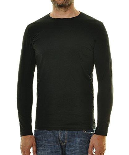 RAGMAN Herren Langarm Shirt mit rundhals Bodyfit Schwarz-009 XXX-Large