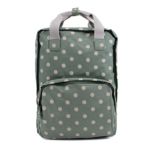 Womens Ladies Oilcloth Backpack Rucksack School College Shoulder Laptop Bag Womens Green