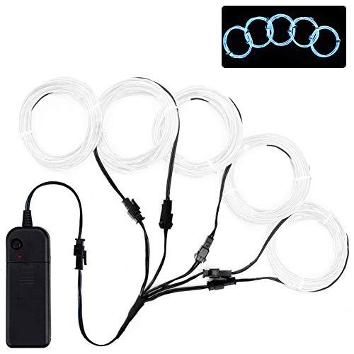 Lychee Flexibel 5x1 m Neon Beleuchtung Draht Lichtschlauch Leuchtschnur EL Kabel Wire mit 3 Modis für Partybeleuchtung(Weiß)