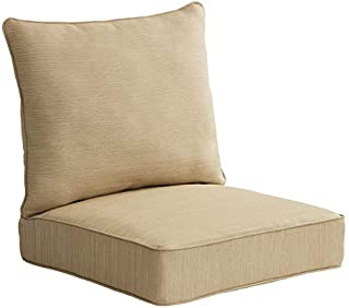 Allen roth 2-Piece Madera Linen Wheat Deep Seat Patio Chair Cushion, Set of 2