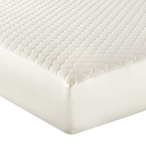 Whisper Organics 100% Organic Cotton Quilted Mattress Cover, 17' Deep - GOTS Certified (King, Ivory)