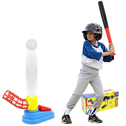 Baseball Kinder Spielzeug für draußen mit 1 Weicher Baseballschläger und 3 Baseballs,Fuß Pop-up Baseball Batting Ball Spiele Gartenspielzeug Outdoor Spielzeug Kinder Junge Mädchen 3 4 5 6 Jahren