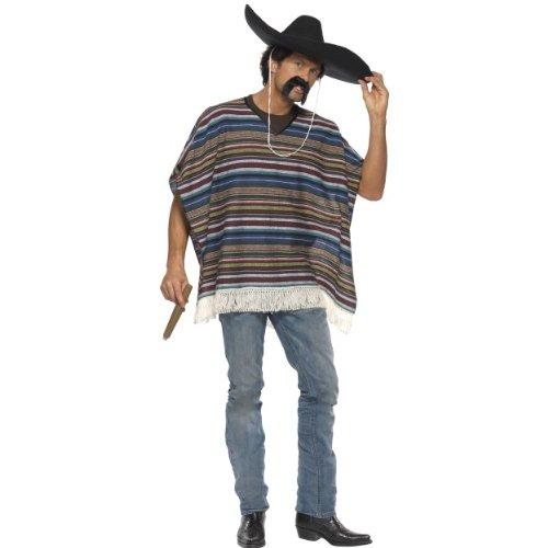 Smiffys Karneval Herren Kostüm echter Poncho Mexico Style Mexikaner