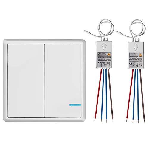 TSSS 2-Wege Funk Wandschalter Wireless Licht Schalter mit Mini Empfänger - Fernbedienung Beleuchtung Lampen - Schnell erstellen Ein Aus Verdrahtung Schalter-Panel - Outdoor 600m Innenaufnahme 40m