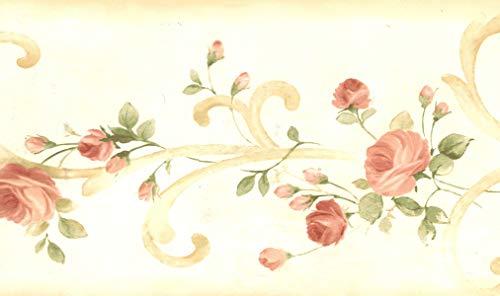 Dundee Deco BD6266 Tapeten Bordüre, vorgeklebt, Blumenmuster, gelb, grün, rote Rosen auf Damastschnörkeln, Tapetenbordüre Retro-Design, 4,57 m x 15,24 cm