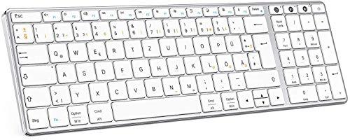 Bluetooth Tastatur, Jelly Comb Multi-Gerät Bluetooth-Tastatur und 2,4G Kabellose Tastatur aus Aluminium, Wiederaufladbare QWERTZ Funktastatur für Windows, OS, iOS, Android(Silber)