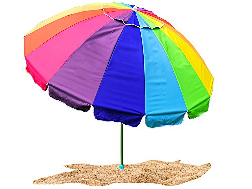 Party With Pride Giant 8' Rainbow Beach Umbrella / With UV Protection / Includes Durable Carry Bag / For Sun and Outdoor / Windproof (Rainbow)