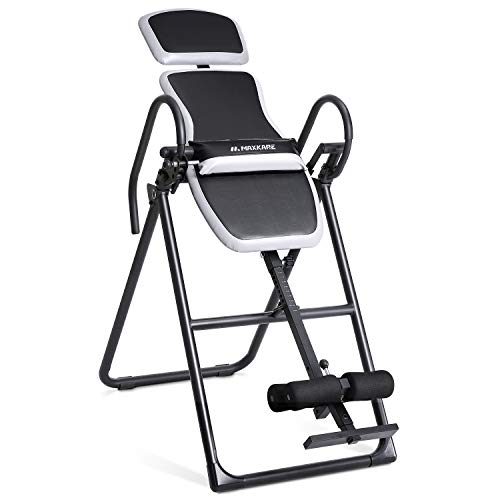 MaxKare Inversion Table Foldable Inversion Equipment with Adjustable Headrest and Lumbar Support for Back Pain Relief